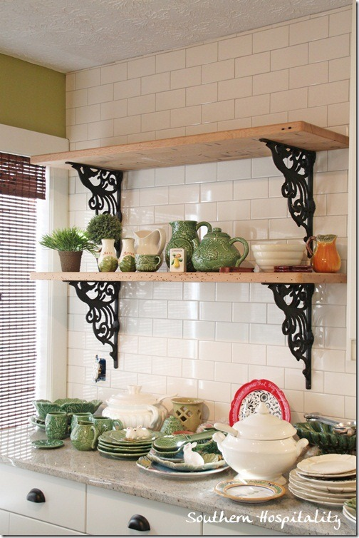 rustic shelves in kitchen
