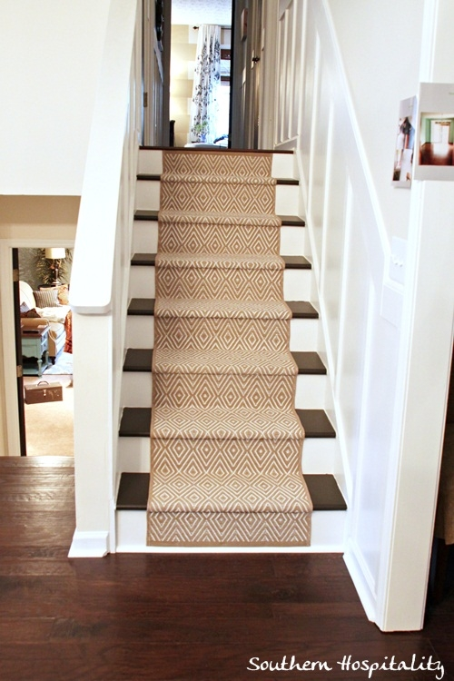 Painted Stairs And Adding Runners Southern Hospitality | Stairs With Carpet In The Middle | Runner Corner | Laminate | Contemporary | Run On Stair | Marble