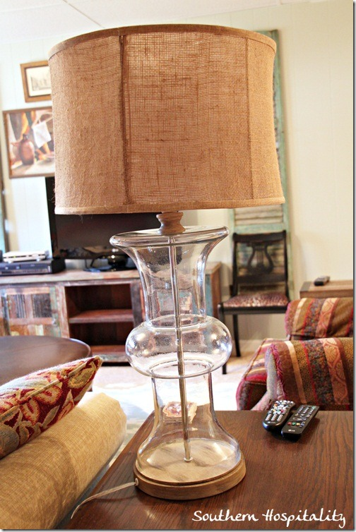 glass l& with burlap shade from Kirklands & table lamps with drum shades