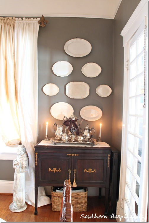plates on wall dining room