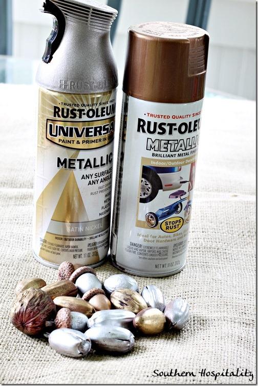 metallic spray paint for acorns