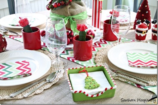 red and green christmas table decorations loris decoration