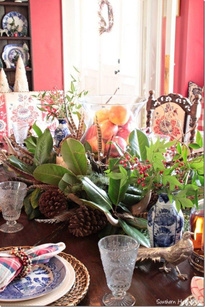 Christmas greens on table