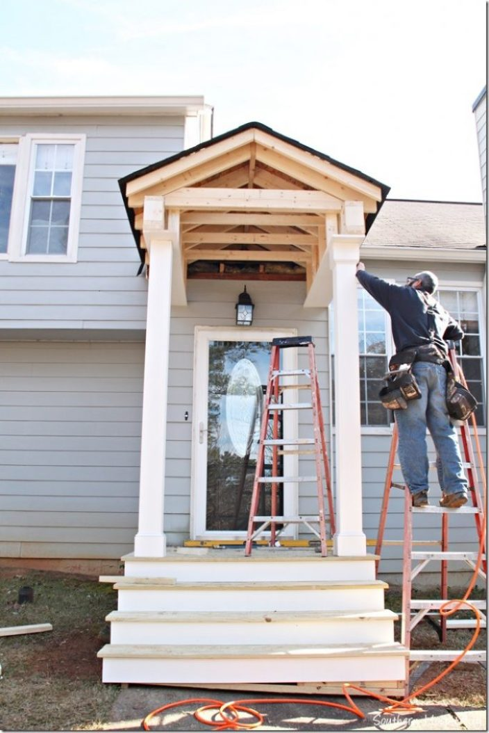 dave working 2 new porch build