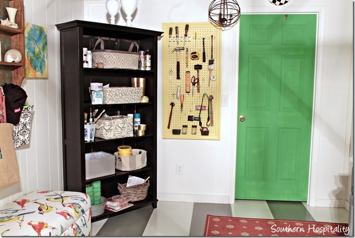 laundry room with pegboard