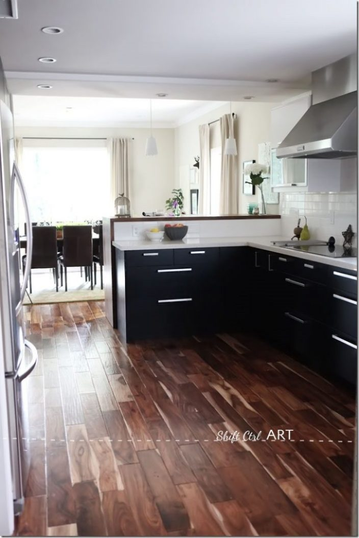 Kitchen-remodel-after-IKEA-Caesar-stone-Acacia-hardwood-DIY-15