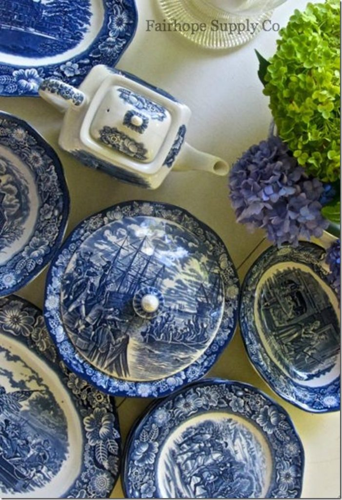 Leslie Anne from Fairhope Supply Co. nearly swooned when she found more of her coveted Liberty Blue Staffordshire dinnerware while out thrifting. & August Thrifty Treasures - Southern Hospitality