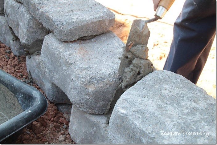 adding mortar in cracks