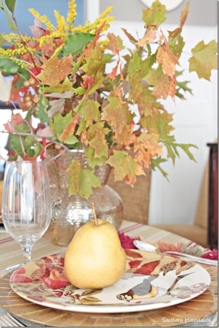 fall leaves in gold vase (2)