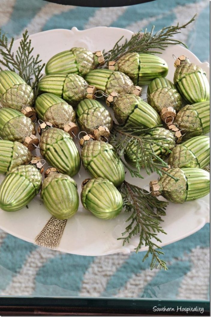 green sparkly acorns