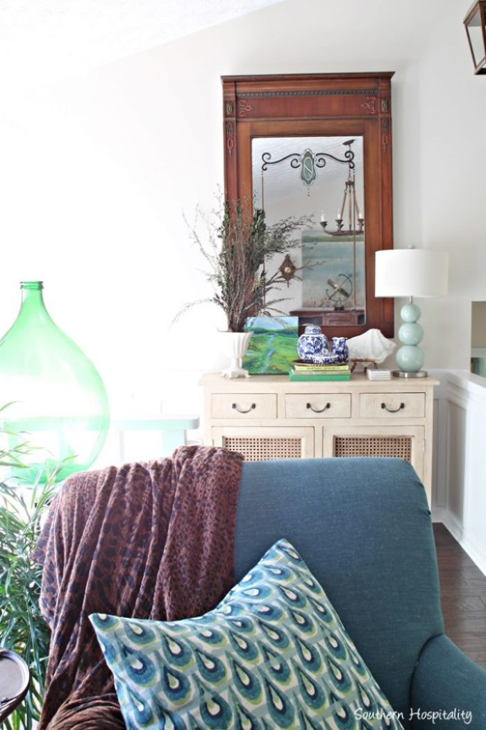 blue chair and console table