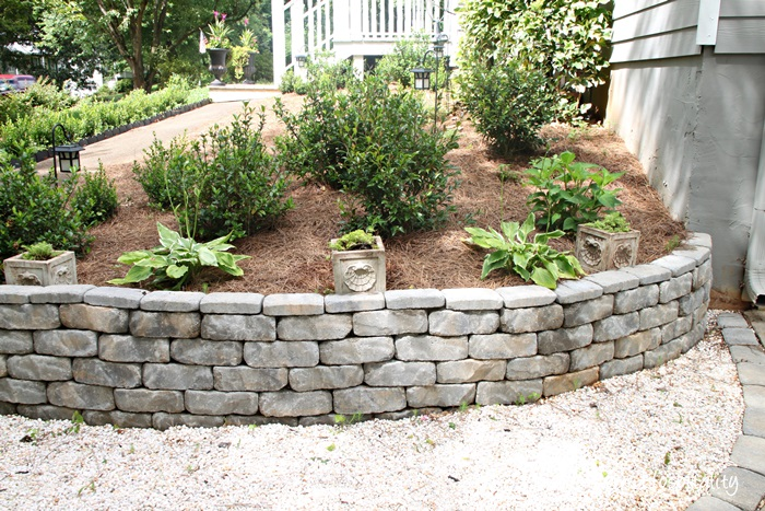 retaining wall and planters