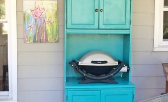Painted Porch Cabinet for Storage