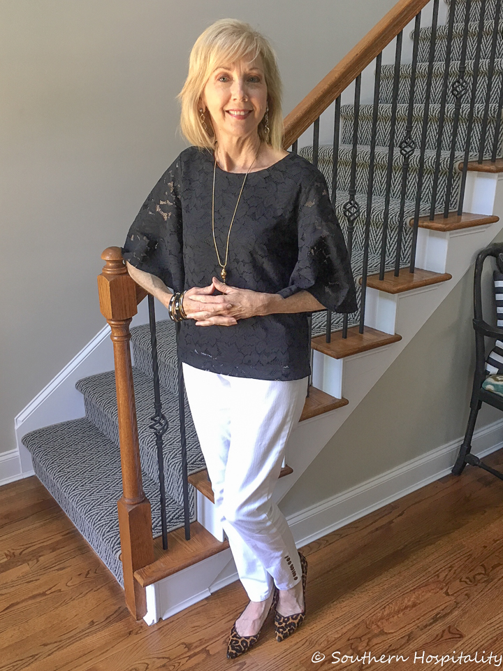 fashion over 50 black lace top