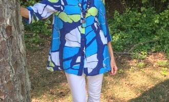 Fashion over 50:  Blue and Green Top