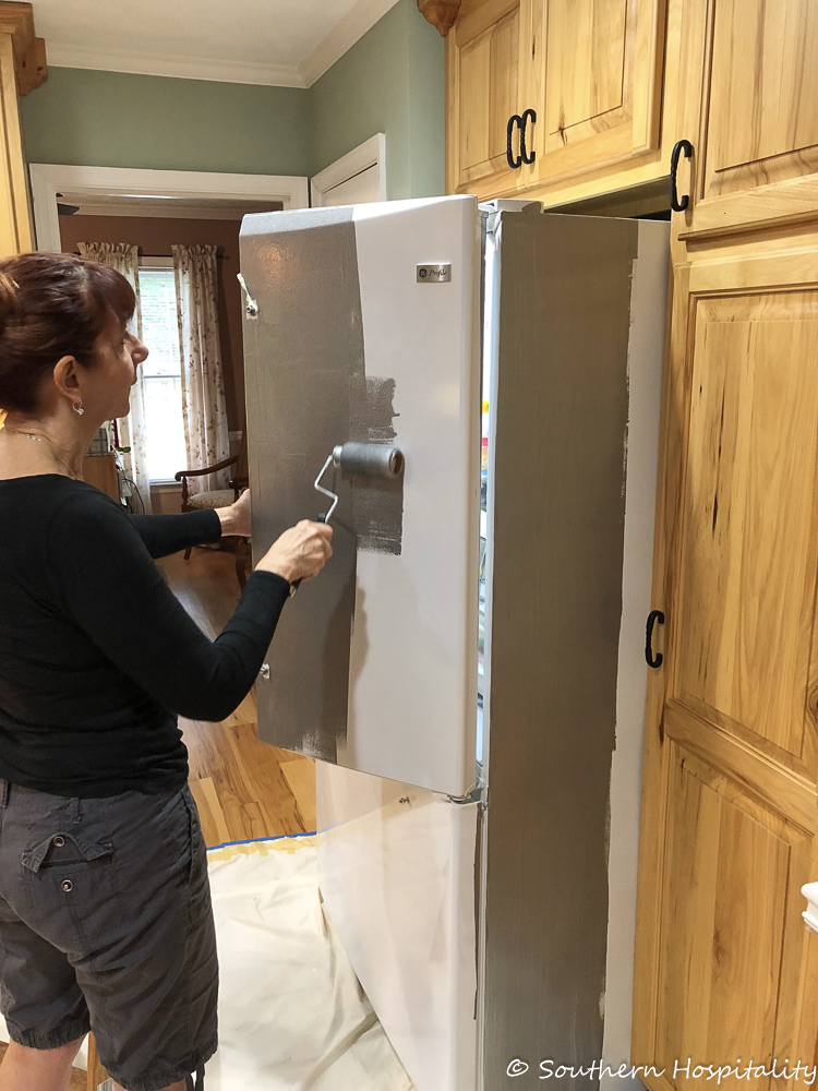 Painting A White Refrigerator With Liquid Stainless Steel