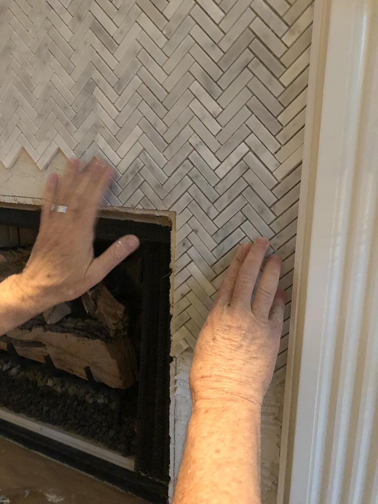 How To Add Herringbone Marble Tile To A Fireplace