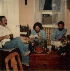 Polaroid, circa 1977—Ralph Adamo, left; Michael Presti, middle, Everette Maddox, right—at my house in New Orleans on North Miro Street
