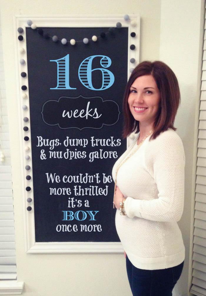 Southern Made Blog- 16 weeks Pregnancy Chalkboard Tracker