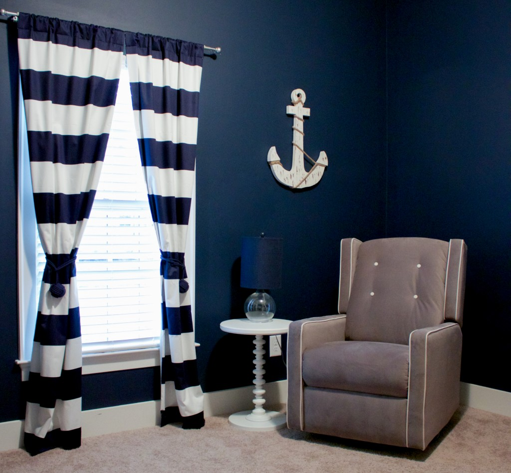 Nautical Nursery Reveal | Southern Made Blog | Glider available at @Walmart. Curtains via @carouseldesigns