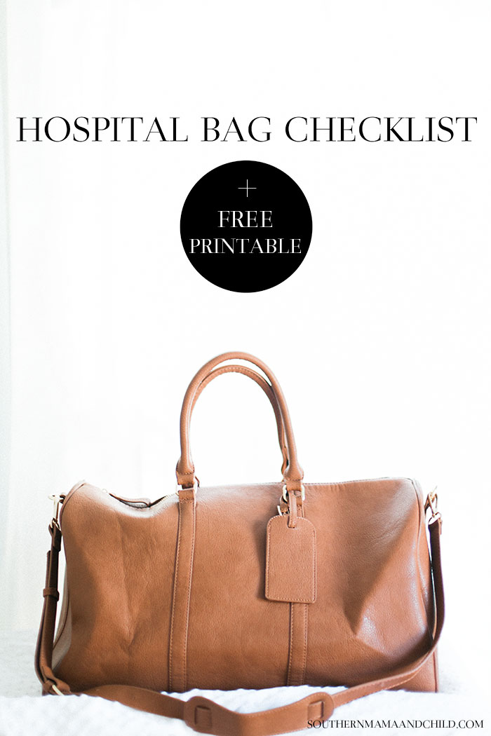 Hospital Bag Checklist from brittany at SouthernMamaGuide.com || hospital bag || What to pack in hospital bag || baby hospital bag || hospital bag free printable