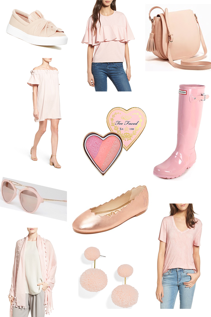 Blush Pink Favorites that is great for styling everyday from Brittany at SouthernMamaGuide.com || Pink Sunglasses || Pink Slip On Sneakers || Pink Tassel Saddle Bag || Pink Hunter Boots | Pink Ballet Flats || Pink Too Faced Blush || Pink Off the shoulder top || Pink Off shoulder dress || Pink Tassel Scarf || Pink Bahama Earrings