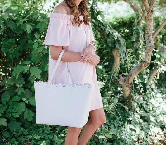 The Perfect Romantic Blush Dress by Britt from SouthernMamaGuide.com || Blush Dress || Blush Pink || Summer Dress || Romantic Dress || Feminine Dress || Off the shoulder dress || flattering dress