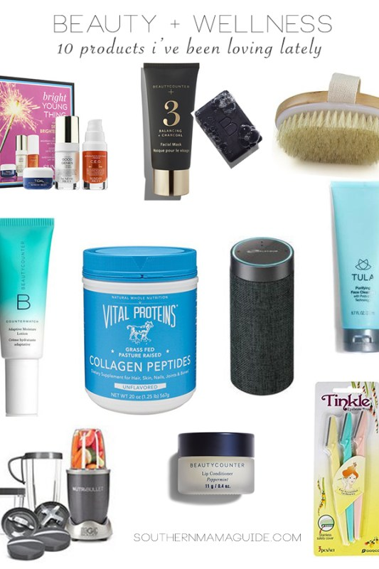 Beauty Wellness Products I am Loving Lately by Britt from SouthernMamaGuide.com | Sunday Riley | Beauty Counter | Dry Brushing | Vital Proteins | Amazon Alexa | Tula | Tinkle | Dermablanding | Wellness | Beauty | NutriBullet
