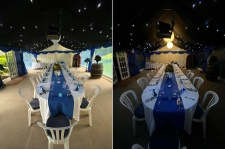 Day and night views of this party marquee