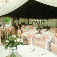 Such a pretty wedding marquee in the grounds of Stansted House