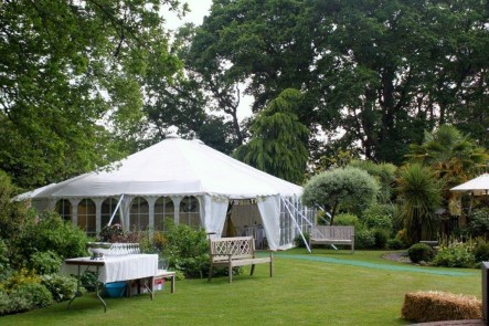 Our marquees nestle into your garden.