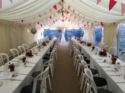 Our 6m marquee with trestle layout for a birthday party.