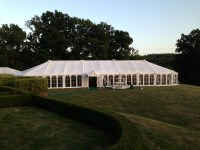 The sun begins to set over the marquee ...