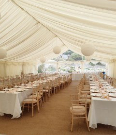 Beautiful coastal wedding marquee.