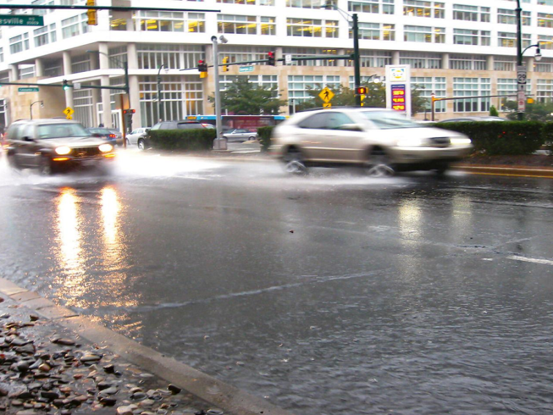 rain and flooding on a Washington DC Street