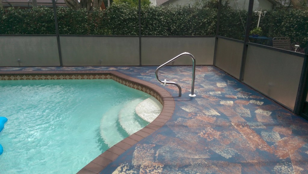 paint concrete pool deck faux rag rugs