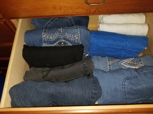 marie kondo tidying up dad's jeans drawer sparks joy
