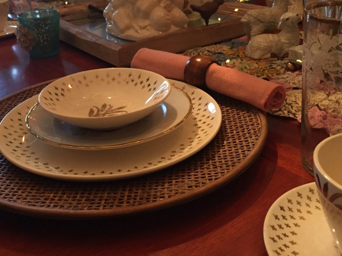 Vintage China on wicker charger