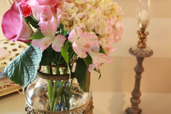 Fresh cut flowers in Vintage French Crystal Vase