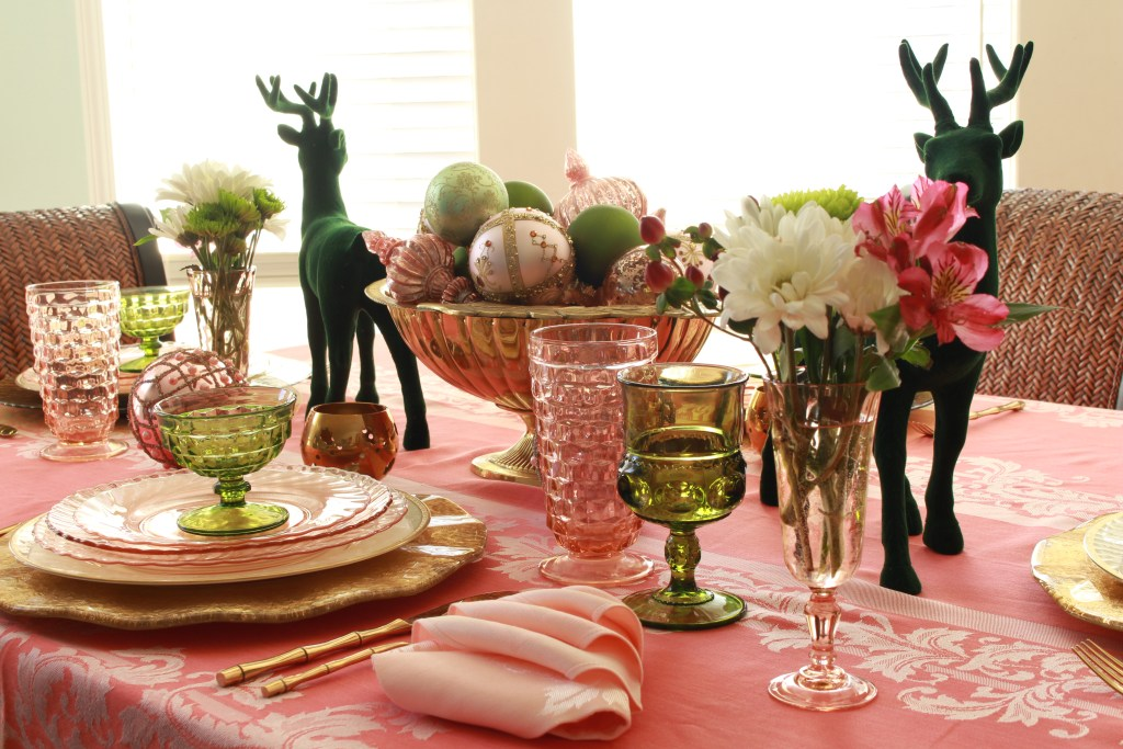 Vintage Pink Christmas Tablescape