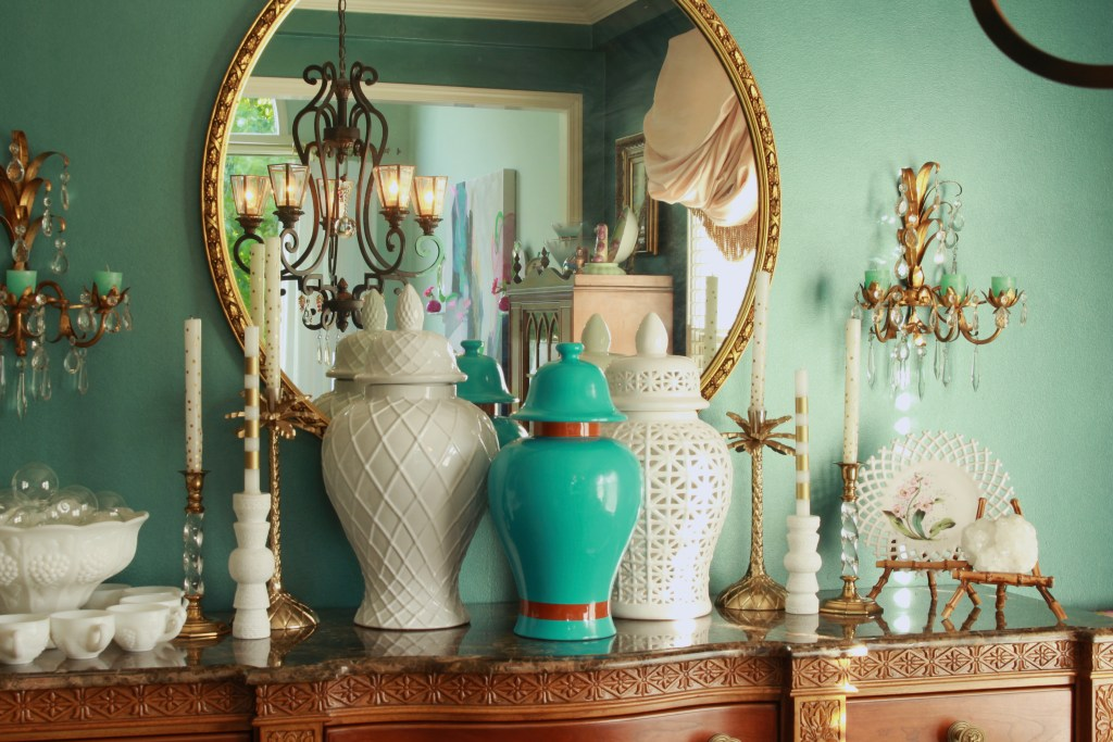 Spray Painted Turquoise Ginger Jar and White Ginger Jars on Cabinet
