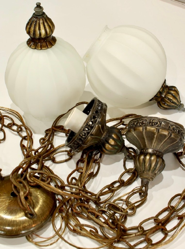 Antique brass and white alabaster vintage bathroom light fixture
