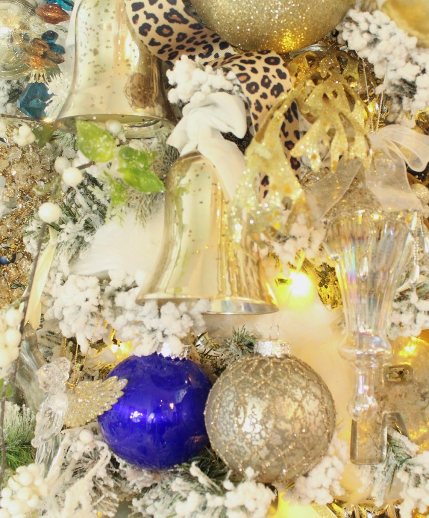 Flocked Tree with Mercury Glass Bell, blue and silver ornaments Ornament