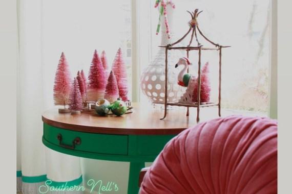 Velvet Pink Pillow and Pink Bottle Brush Christmas Trees
