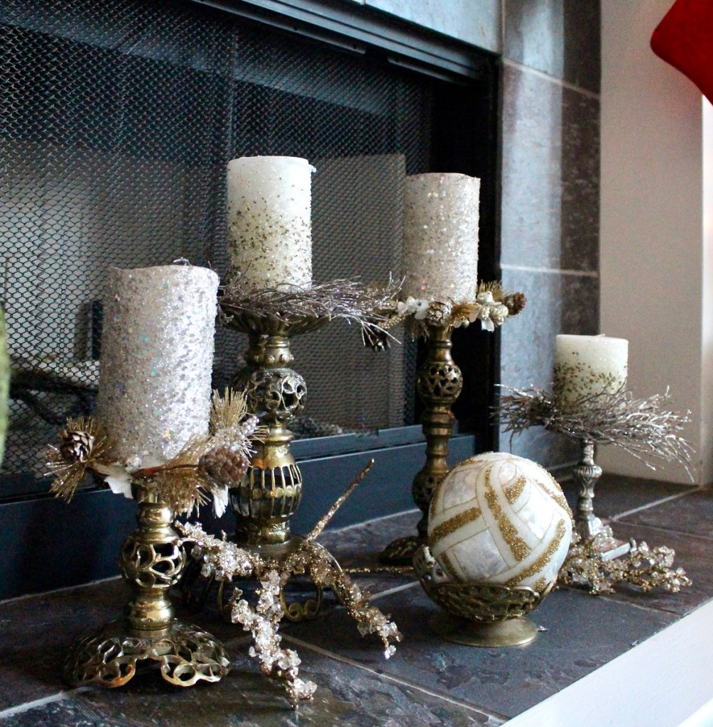 Vintage Brass Candlesticks with Christmas Candles