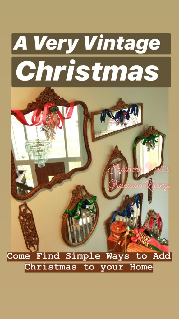 Antique French Mirrors with Colorful Ribbon and Christmas Spray