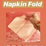 Hand folding a vintage peach napkin