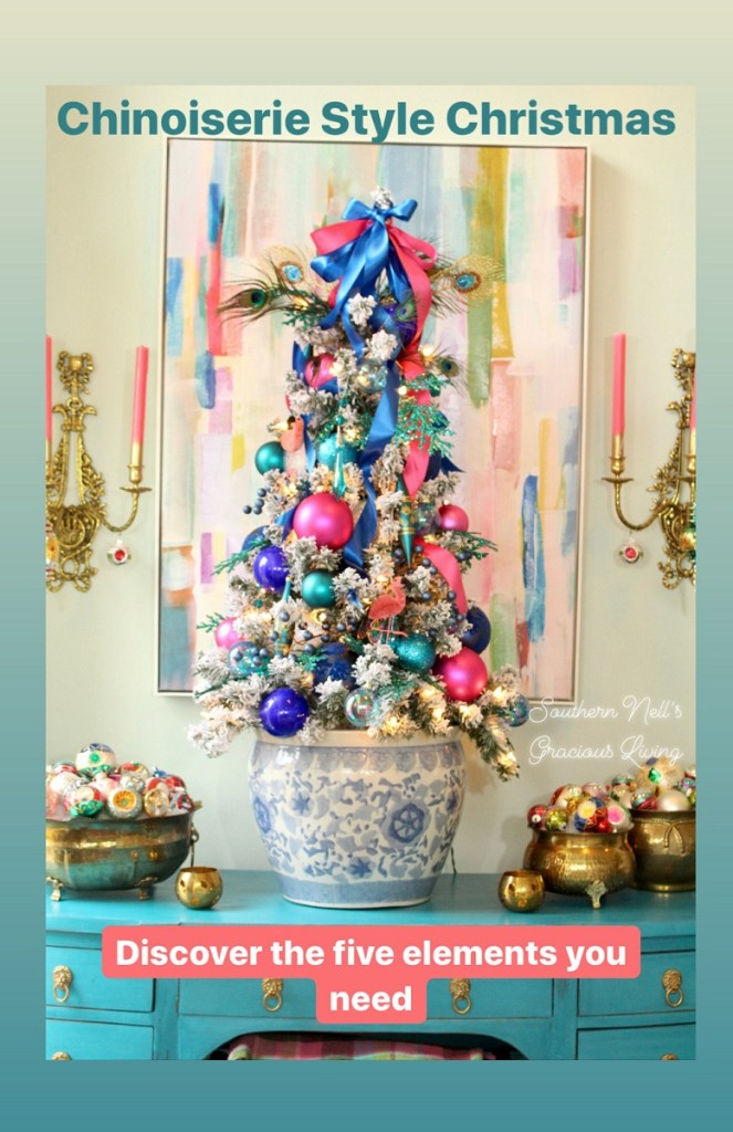 Flocked Chinoiserie Style Christmas Tree with Pink and Blue Ornaments and Ribbons