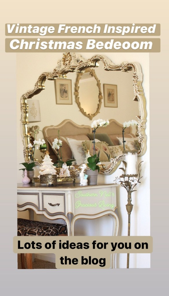 Vintage mirror and vanity with Christmas decor