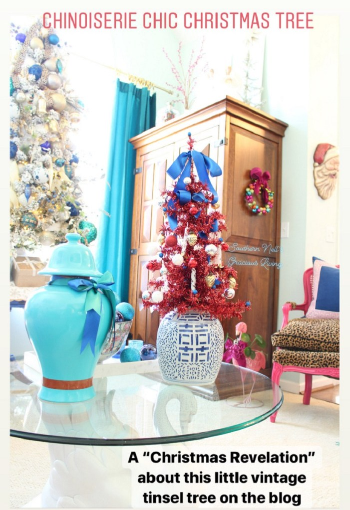 Turquoise Ginger Jar and Red Christmas Tree in jar